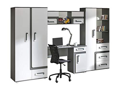 KRYSPOL Kinderzimmer Set IV APETITO Kleiderschrank, Regal, Schreibtisch, Hängeregal (Anthrazit/Weiß)