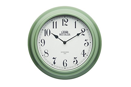 KitchenCraft Living Nostalgia - Reloj de pared analógico, 25,5 cm, plástico, English Sage, 7.5 x 25.5 x 25.5 cm