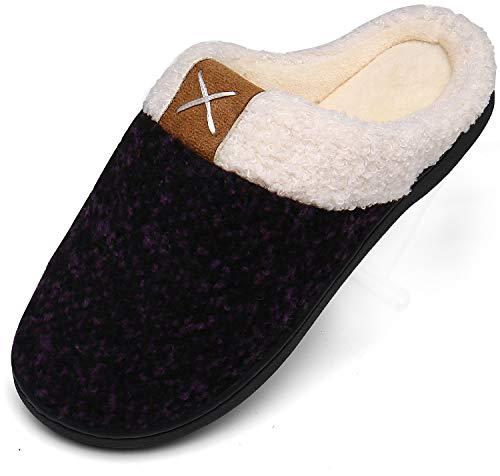 Memory Foam Hausschuhe Damen Winter Plüsch Pantoffeln Frauen Wärme Weiche Home rutschfeste Slippers mit Fell Violett Gr.38/39 EU