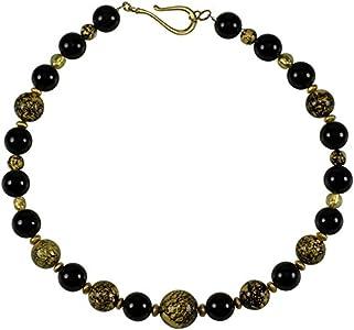 Collar de cristal de Murano con hojas de oro de 24 quilates de ónix, collar Alexis declaración de oro, piedras preciosas, hecho a mano
