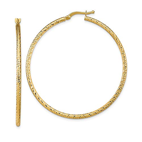 Leslie's - Orecchini a cerchio in oro giallo 14 ct, taglio a diamante, misura grande, 47,63 x 46,75 mm, ideali per donne