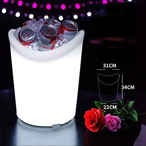 HHGO Led-wijnvat ijsemmer van kunststof, draadloze afstandsbediening, draagbaar, voor bierwijn, whiskey champagne, waterbestendig, kleurrijk, ijsemmer, USB-oplader