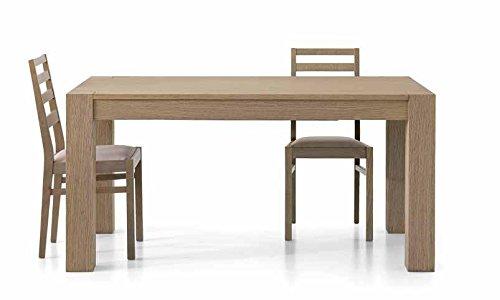 InHouse srls Table en chêne sépia brossé comportant 2 rallonges DE 40 cm, Style Moderne - Dim. 140 x 90 x 77