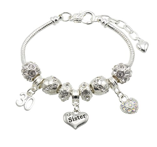 Jewellery Hut Sister Birthday Charm Bracelet with Gift Box - Ages Available 13, 15, 16, 18, 20, 21, 25, 30, 35, 40, 45 & 50 (30th)