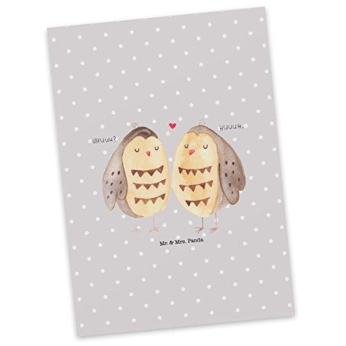 Mr. & Mrs. Panda cadeaubon, kaart, Ansichtkaart Uilverliefde - Kleur Grijze Pastel