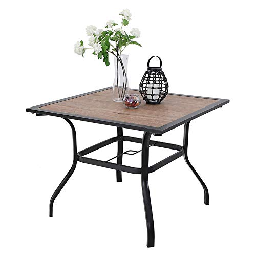 PHIVILLA Garden Table 94 * 94cm Outdoor Dining Table with Wood-like Tabletop Steel Frame and Parasol Hole Square Patio Table Maintenance Free (Brown)
