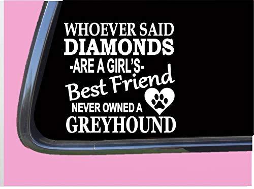DKISEE Greyhound Diamonds TP 505 Aufkleber 15,2 cm Aufkleber Rettungshund Rennmaulkorb Leine 15,2 cm