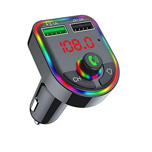 Cargador de coche USB, adaptador de cargador de coche con pantalla digital LCD, lámpara de atmósfera colorida, transmisor de FM Bluetooth 5.0 MP3, música 3.1 A, 1 A, doble puerto de carga rápida