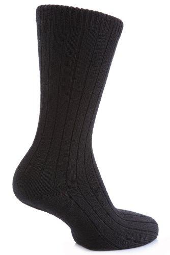 Herren 1 Paar Panthermerinowolle Gerippte Freizeit Socken In 4 Colours - 6.5-8.5 Mens - Schwarz
