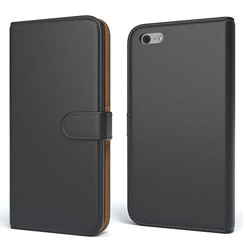 EAZY CASE Tasche kompatibel mit iPhone 5C Schutzhülle mit Standfunktion Klapphülle im Bookstyle, Handytasche Handyhülle Flip Cover mit Magnetverschluss & Kartenfach, Kunstleder, Schwarz