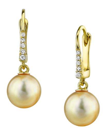 Golden South Sea perla cultivada pendientes de Susan en 14K oro
