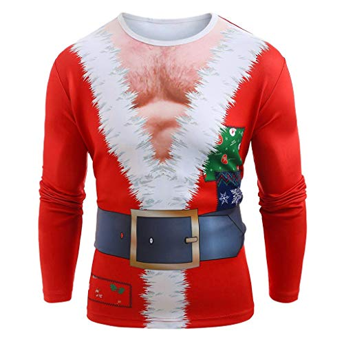 Affordable Mens Ugly Christmas T-Shirt, Muscle Santa Claus Costume Long Sleeve Top Blouse (XL, Red)