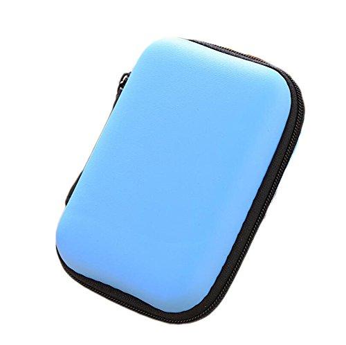 Lovemay Étui universel pour écouteurs intra-auriculaires avec compartiment en filet pour fille - Pochette universelle pour écouteurs intra-auriculaires avec poche en filet - 12 x 8 x 4 cm (bleu)