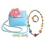 Aligle Little Girl Beauty Set Plush Flower Handbag + 2 Hair Clip + Necklace and Bracelet(Blue