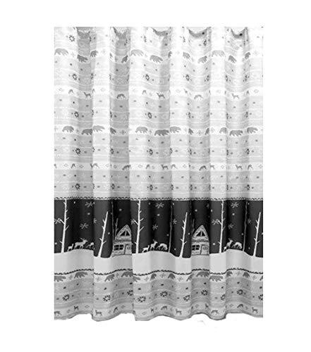 St. Nicholas Square Duschvorhang aus Stoff, Motiv: Fairisle Cabin, Winterwald, Bär, Reh, Schneeflocke, 178 x 178 cm