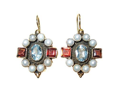 Edelstein-Ohrringe Topas hell-blau Granat rot echte Süßwasser-Perlen Hänger verschließbar Silber...