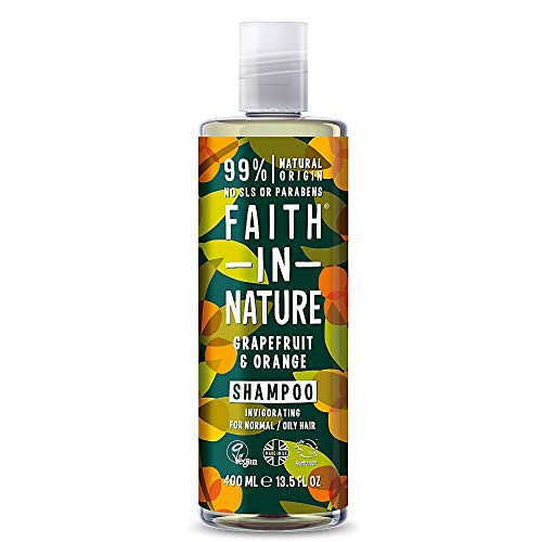 Faith in Nature Shampoing Naturel Pamplemousse et Orange, Stimulant, Végan et Respectueux des Animaux, Sans Parabènes et Sans SLS, Cheveux Normaux à Gras, 400ml