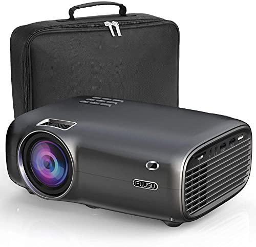 FUJSU Proiettore 6000 Lumen Mini Proiettore Full HD Portatile Home Cinema 1080P con 70.000 ore LED Proiettore Supporto con laptop, Smartphone, USB, PS4, X-Box, Fire TV Stick