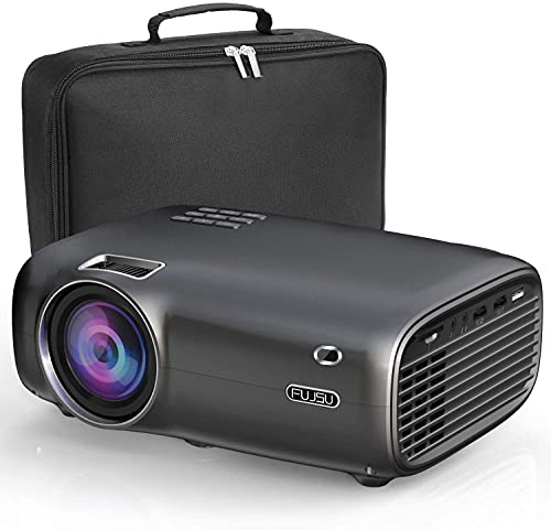 FUJSU Beamer, 6000 Lumen Mini Beamer Full HD,tragbare Heimkino Beamer 1080P mit 70000 Stunden LED Beamer unterstützt mit Laptop, Smartphone, USB, PS4, X-Box, Fire TV Stick