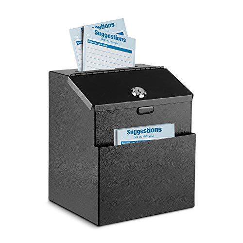 Flexzion Vorschlagsbox zur Wandmontage aus Stahl mit Schloss, Spendensammlung, Wahlurne mit 25 Feedback-Karten, Installationsschrauben, Erweiterungsschrauben und 2 Schlüsseln