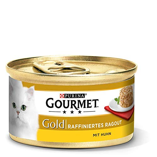 PURINA GOURMET Gold Raffiniertes Ragout Katzenfutter nass, mit Huhn, 12er Pack (12 x 85g)