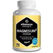 Magnesium Komplex hochdosiert, 350 mg elementares Magnesium mit 24h Depot-Effekt, 180 Tabletten vegan, Magnesium-Citrat-Carbonat-Oxid ohne Zusatzstoffe, Made in Germany