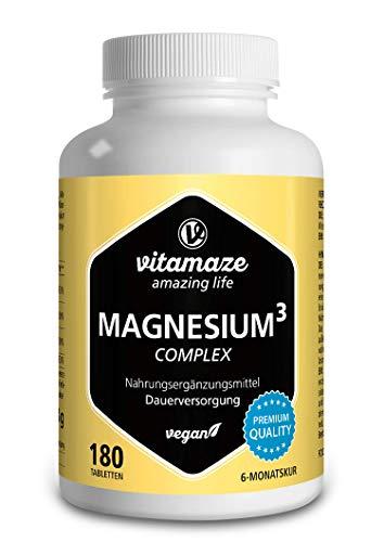 Vitamaze® Magnesio Completo 350 mg di Magnesio Elementare, 180 Compresse Vegane per 6 Mesi, Citrato di Magnesio + Carbonato di Magnesio + Ossido di Magnesio, Eccellente Biodisponibilità