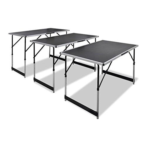 Lingjiushopping 3 x werktafel, inklapbaar, in hoogte verstelbaar, 3 x klaptafel, tafelblad: 100 x 60 cm