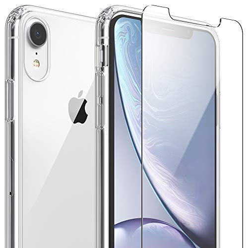 FlexGear Clear Case for iPhone XR and 2 Glass Screen Protectors...