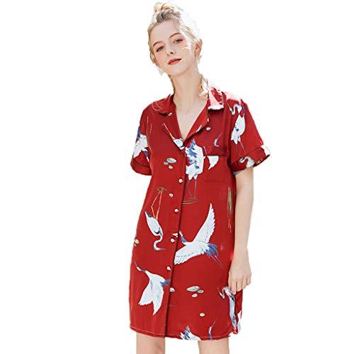 FELZ Camisón con Bata De Noche Mujer Estilo Corto De Las Mujeres Ropa De Dormir De Seda Estampada Primavera Verano Inicio CamisóN Camisones