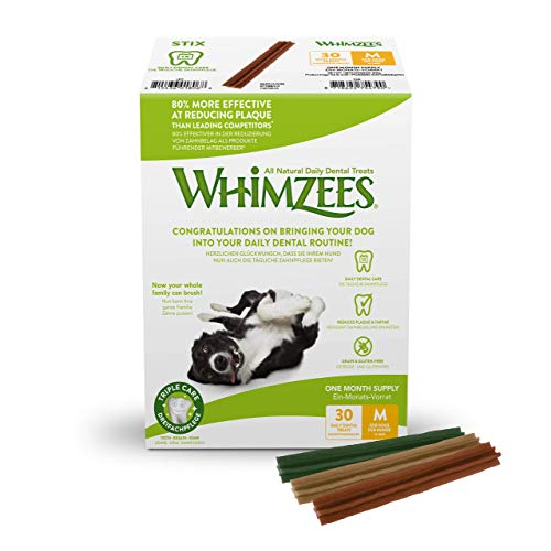 WHIMZEES Natural Dental Dog Chews Long lasting, Medium Stix, 30 Pieces