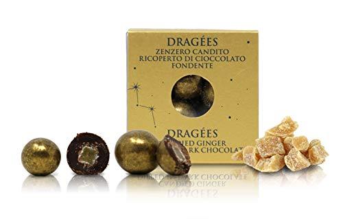 Ta Milano Dragèes con Zenzero candito ricoperto di Cioccolato Fondente 66% Color Oro, Linea Stardust - 120g