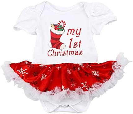 FYMNSI Baby Girls My First Christmas Outfit Newborn Infant 1st Xmas Party Clothes Princess Tutu Romper Dress Bowknot Headband Shoes Leg Warmers 4pcs Set for 0-18 Months