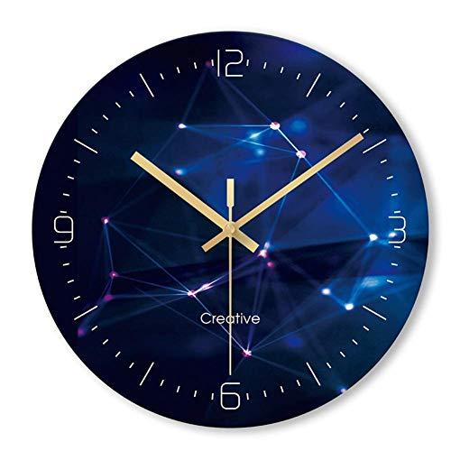 Reloj de Pared Que no Hace tictac Funciona con Pilas diseño Creativo Decorativo para Sala de Estar Dormitorio analógico Cielo Estrellado Redondo Reloj acrílico
