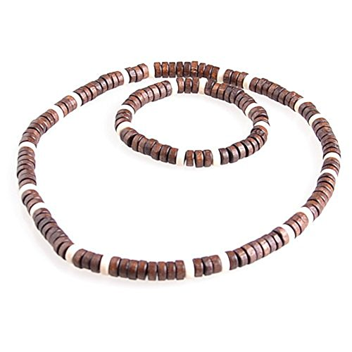 DonDon necklace and bracelet with wooden beads in beach look
