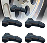 4 Pack Pennis Valve Stem Caps Glow In The Dark, Prank Weenie Shaped Tire Valve Stem Caps, Prank Novelty Spoof Valve Stem Caps for Cars, Trucks, Bikes, Motorcycles and Bicycles (Black)