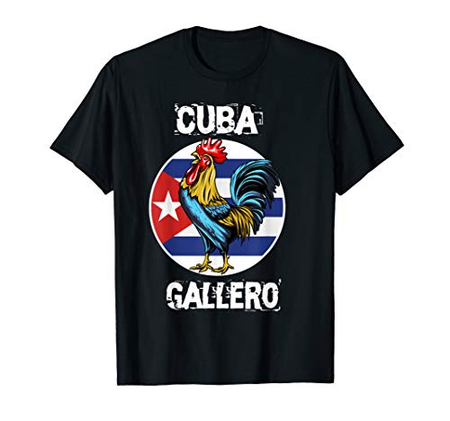 Cuban Flag Cockfighting Rooster Gallero pelea de gallos T-Shirt