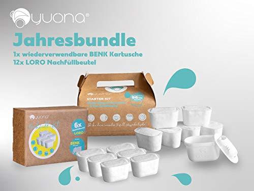 yucona® Wiederverwendbare Wasserfilter-Kartusche, Jahres-Bundle (12 Monate), Reduktion Kalk Chlor…
