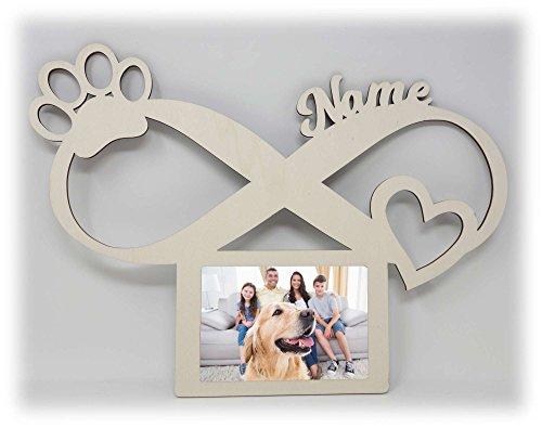 Hunde Pfoten Bilderrahmen 10x15 Individuell mit Namen Personalisiert als Geschenk I Erinnerung Hundeliebhaber Besitzer Geburtstag