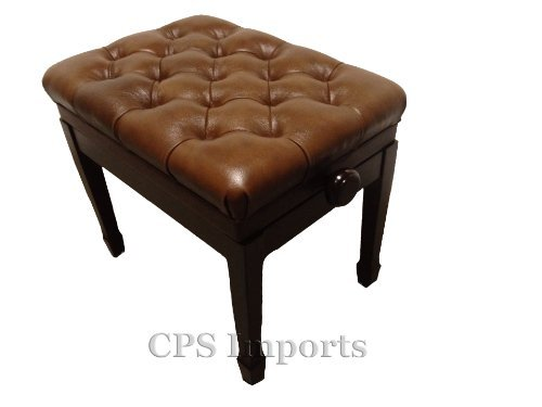 Buy Discount Genuine Leather Adjustable Pillow Top Artist Piano Bench Stool in Walnut