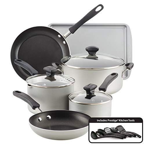 Farberware Cookstart Aluminum DiamondMax Nonstick Cookware Set, 15-Piece (Silver)