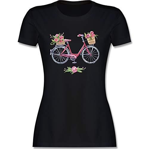 Vintage - Vintage Fahrrad Wasserfarbe Blumen - M - Schwarz - Bunte Shirts - L191 - Tailliertes Tshirt für Damen und Frauen T-Shirt