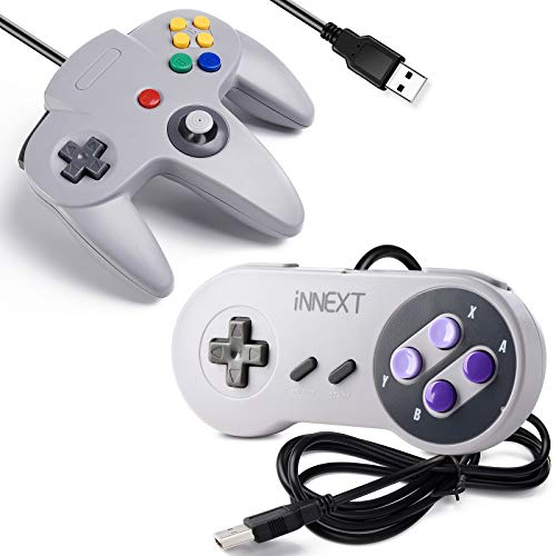 [USB Version] 2 Pack USB Classic Controller, iNNEXT USB N64 & SNES Controller Joystick for Windows PC MAC Linux Raspberry Pi 3 Sega Genesis Higan (Grey)