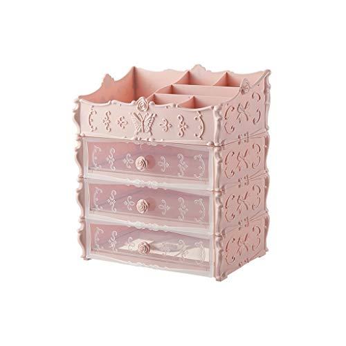 ZJH Soporte de joyería Transparente Cajón Joyero Soporte de exhibición a Prueba de Polvo del sostenedor del Estante de Almacenamiento de Almacenamiento Caso (Color : Pink)