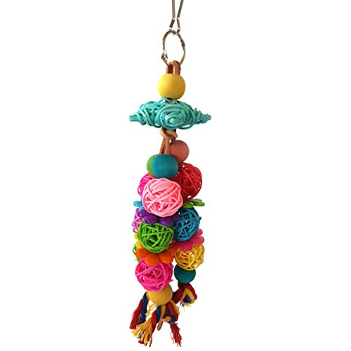 huiingwen Juguete para loros de perca de pájaros, plataforma de madera para colgar en el patio de juegos con bolas de ratán, accesorios para jaula de pájaros para cacatúa, pinza, periquito, guacamayo
