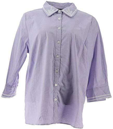 Bob Mackie Embroidered Woven Poplin Shirt Cuff SLVS Lavender 1X New A305227
