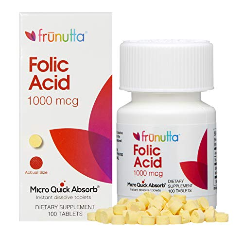 Frunutta Folic Acid Under The Tongue Instant Dissolve Tablets - 1000 mcg x 100 Tablets - Dietary Supplement, Made in USA - Non-GMO, Gluten Free
