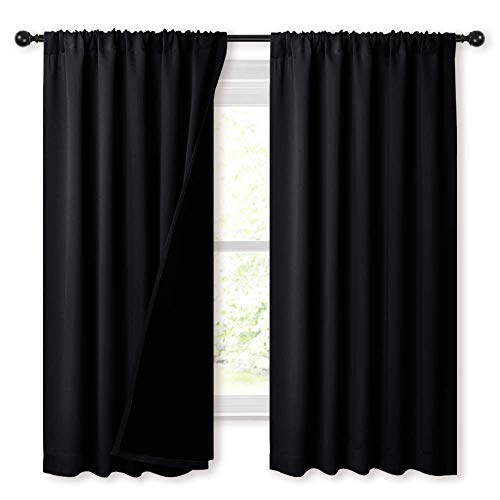 NICETOWN Complete 100% Blackout Curtains, Thermal Insulated & Energy Efficiency Window Draperies with Black Liner, Noise Reducing Drapes for Kids (Black, 52 inches W by 63 inches L, Double Panels)