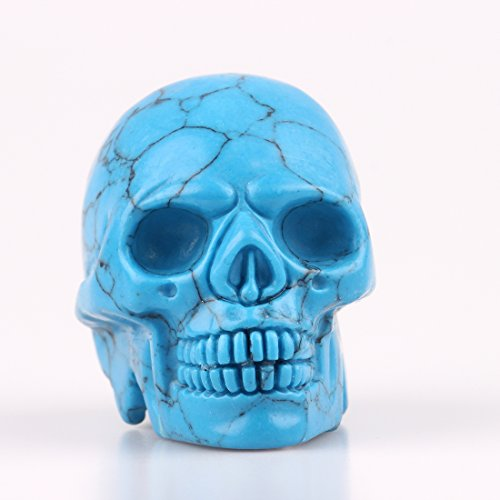 2.0inch Natural Carved Skull Crystal Reiki Healing Stone Statue Collectible Figurine (Turquoise)