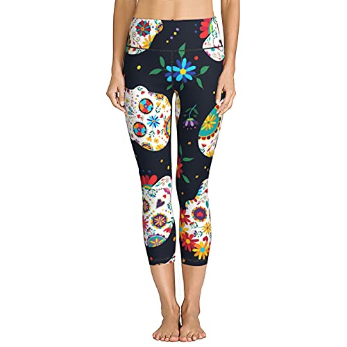 V-Vgl Women's Yoga Pants Day of The Dead Mexican Sugar Skull Jogger Running Stretchy Skinny Leggings Capris High Waist Cropped Trouser
